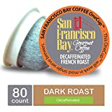 San Francisco Bay Coffee Decaffeinated OneCup for Keurig K-Cup Brewers, French Roast, 80