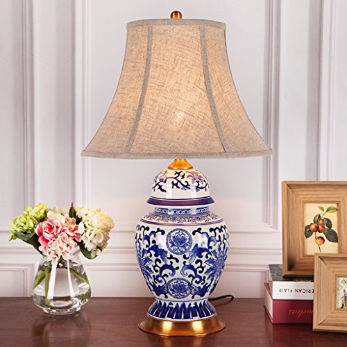 Blue And White Porcelain Table Lamps - Hyun times table lamp Table Lamp Ceramic Bedside Lamp - 64cm Blue And White Porcelain Classical Bedroom Bedside American Retro Living Room Lamps