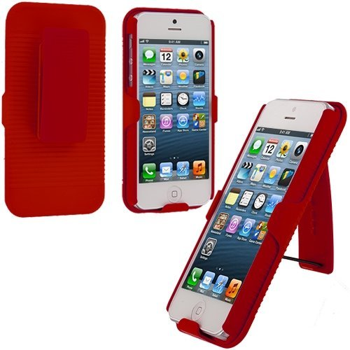 Red Slide Case With Belt Clip Swivel Holster Stand for Apple iPhone 5 5G 5th