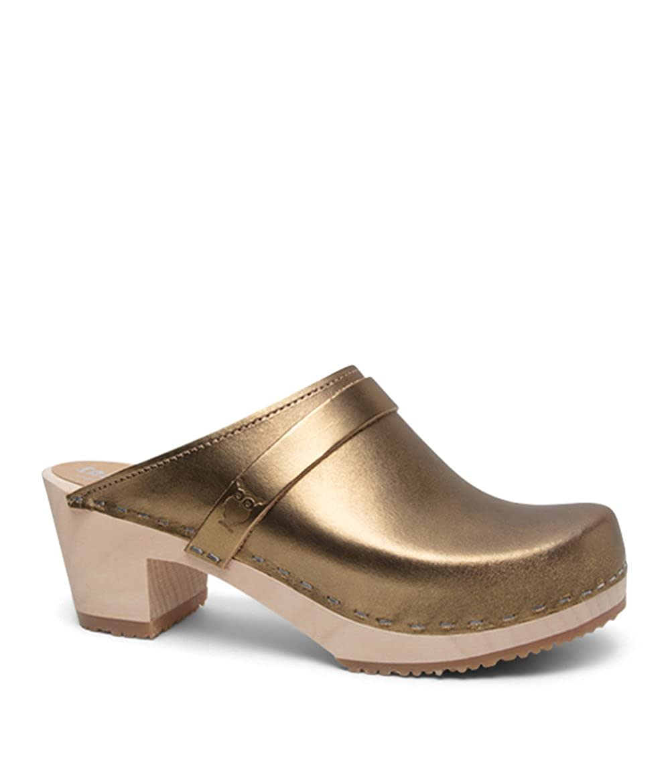 Metallic gold (Vegetable Tanned Leather) Sandgrens Swedish High Heel Wooden Clog Mules for Women   Dublin