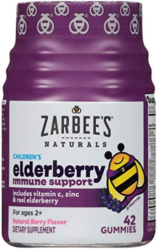Zarbee s Naturals Children s Elderberry Immune Support* with Vitamin C Zinc, Natural Berry Flavor, 42 Gummies