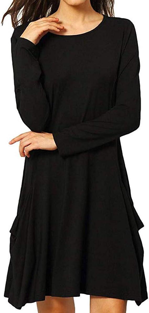 Vectry Rebajas Vestidos De Fiesta Vestidos Liso Vestidos Casual Vestidos para Boda Vestidos con Manga Larga Vestidos con Bolsillos: Amazon.es: Ropa y accesorios