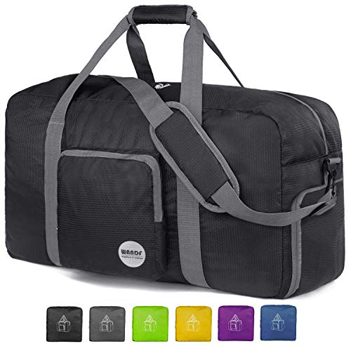 24'' Foldable Duffle Bag 60L, Super Lightweight Travel Duffel for Luggage Sports Gym Water Resistant Nylon By WANDF