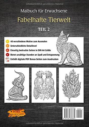 Malbuch für Erwachsene - Fabelhafte Tierwelt Tier-Malbücher für ...