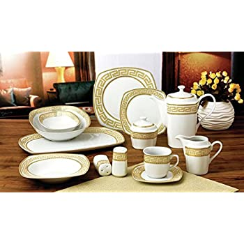 Royalty Porcelain 57-pc Banquet Dinnerware Set for 8 Bone China (Greek Key)  sc 1 st  Amazon.com & Amazon.com | Brylanehome 40-Pc. Golden Ceramic Dinnerware Set (Gold ...
