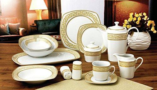 Designer Pot - Royalty Porcelain 57-pc Banquet Dinnerware Set for 8, Bone China (Greek Key)
