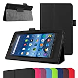 """Fire 7 5th Generation Case,Mama Mouth PU Leather Folio 2-folding Stand Cover with Stylus Holder for 7"""" Amazon Fire 7 Android Tablet 5th Generation 2015 release,Black"""