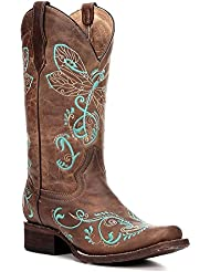 Circle G Womens Embroidered Dragonfly Cowgirl Boot Square Toe Tan 6 M US