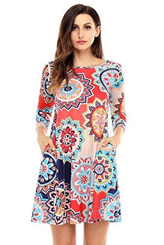 Wow Prom Gowns - HUUSA Sexy Womens Bohemian Sunflower Print Clubwear Mini Dress S Red