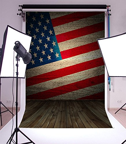 Laeacco 3x5ft Vinyl Photography Background 1*1.5m Wood Floor and American Flag Backdrop Photo Studio Props