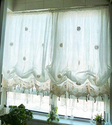 Hughapy Pastoral 58 by 69 inch Length Adjustable Balloon Manual Hook Flower Shade Curtains Best Christmas Decor, Off-White