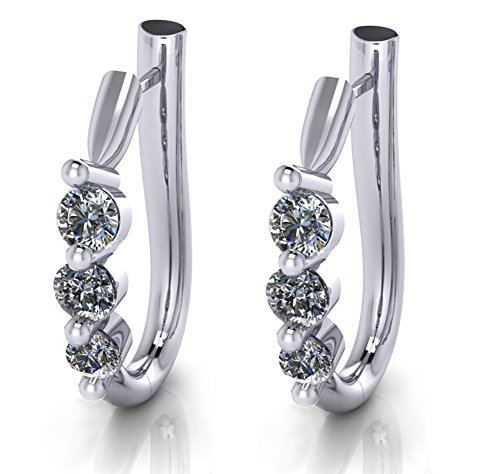 1.10 ct Ladies Round Cut Diamond Hoop Huggie Earrings by Madina Jewelry (Image #1)