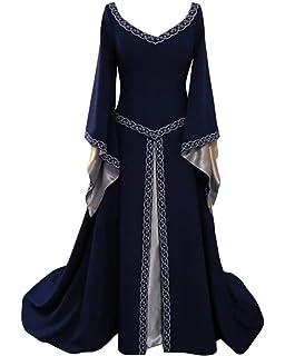 COCD Vestido de Traje Medieval Vestido renacentista para Mujer ...