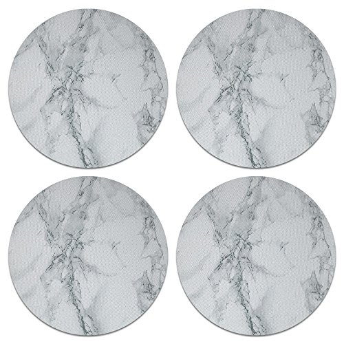 (CARIBOU Coasters, Gray Stone Marble Design Absorbent ROUND Neoprene Coasters for Drinks, 4pcs Set)
