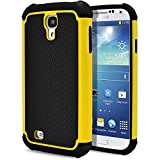 Galaxy S4 Case, MagicMobile [Dual Armor Series] Rugged Durable [Impact Shockproof Resistant] Double Layer Cover [Hard Shell] & [Flexible Silicone] Case for Galaxy S4 Case - Black / Yellow with Screen Protector