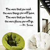 Zooarts Dr Seuss The More You Read Quote Children's Room Kids Room Playroom Nursery Wall Sticker Wall Art Vinyl Wall Decal Wall Mural for Reading Corner / Classroom