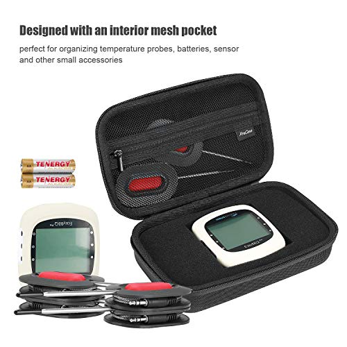 ProCase Carrying Case for Cooking Thermometer Soraken NutriChef PWIRBBQ80 Inkbird IBT-4XS / IBT-4XP / IBT-2X Nobebird BBQ Grill Digital Meat Thermometer Hard Travel Case –Black