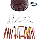 Arizene Manicure Pedicure Set Nail Clippers Stainless Steel Toenail Clippers Nail Tools Travel & Grooming Kit with Case, 18pcs