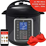 Mealthy 9-in-1 Programmable Electric Pressure Cooker 6 Litres with Stainless Steel Pot, Steamer Basket and Instant access to Recipe App (Black)