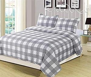 HowPlum Queen Buffalo Check Plaid Stripe Checkered Quilt Bedding Set, Grey and White