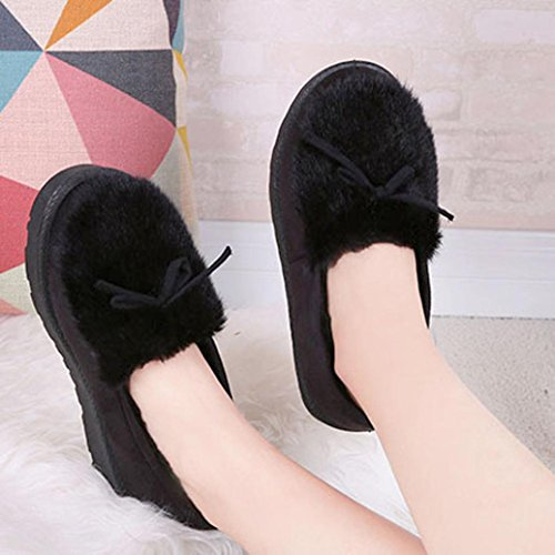 Bottes Dhiver Pour Femmes, Egmy Femmes Cheville Plat Fourrure Doublée Hiver Chaud Chaussures De Neige Paresseux Chaussures Noir