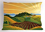 Lunarable Country Pillow Sham, Crop Field Garden Grass Meadow Mountain Path Farm Sunrise Elements for Agriculture, Decorative Standard Size Printed Pillowcase, 26 X 20 inches, Multicolor