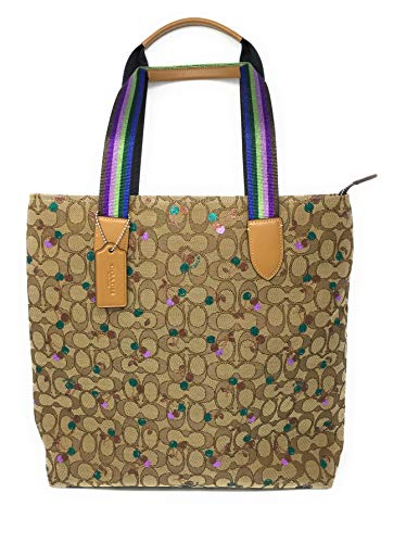 COACH F30604 TOTE IN SIGNATURE JACQUARD WITH CHERRY PRINT