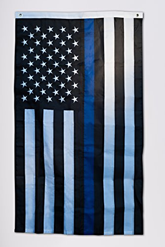 Thin Blue Line American Flag – Embroidered For Sale