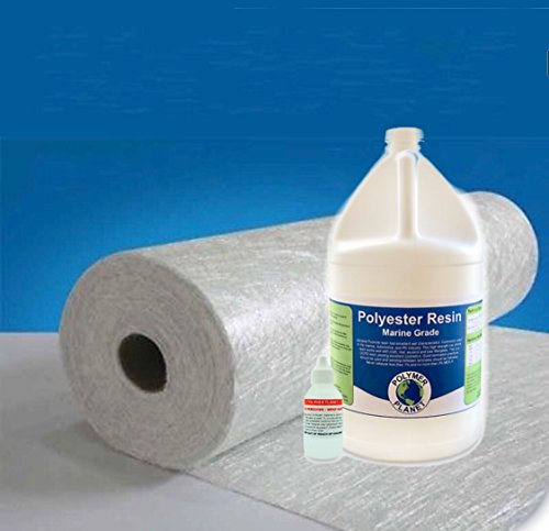 "Fiberglass Repair Kit 2 gallons of Polyester Resin 1708 Biaxial 50"" Wide x 10 Yard Long by Polymer Planet"