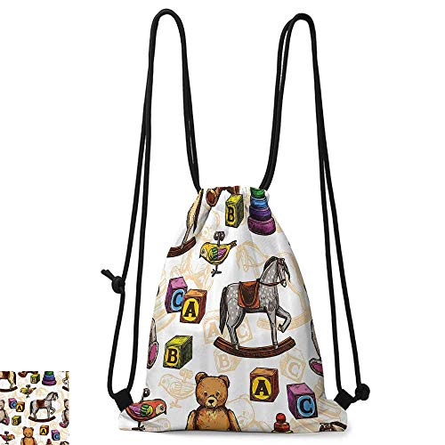 (Drawstring backpack Vintage Decor Retro Style Toys Rocking Horse Teddy Bear and Bird Illustration Print W14