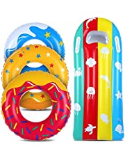JoinJoy Pool Floats Donuts Swim Rings Swim Tubes Inflatable Beach Swimming Party Toys for Kids Adults Raft Floaties Toddlers