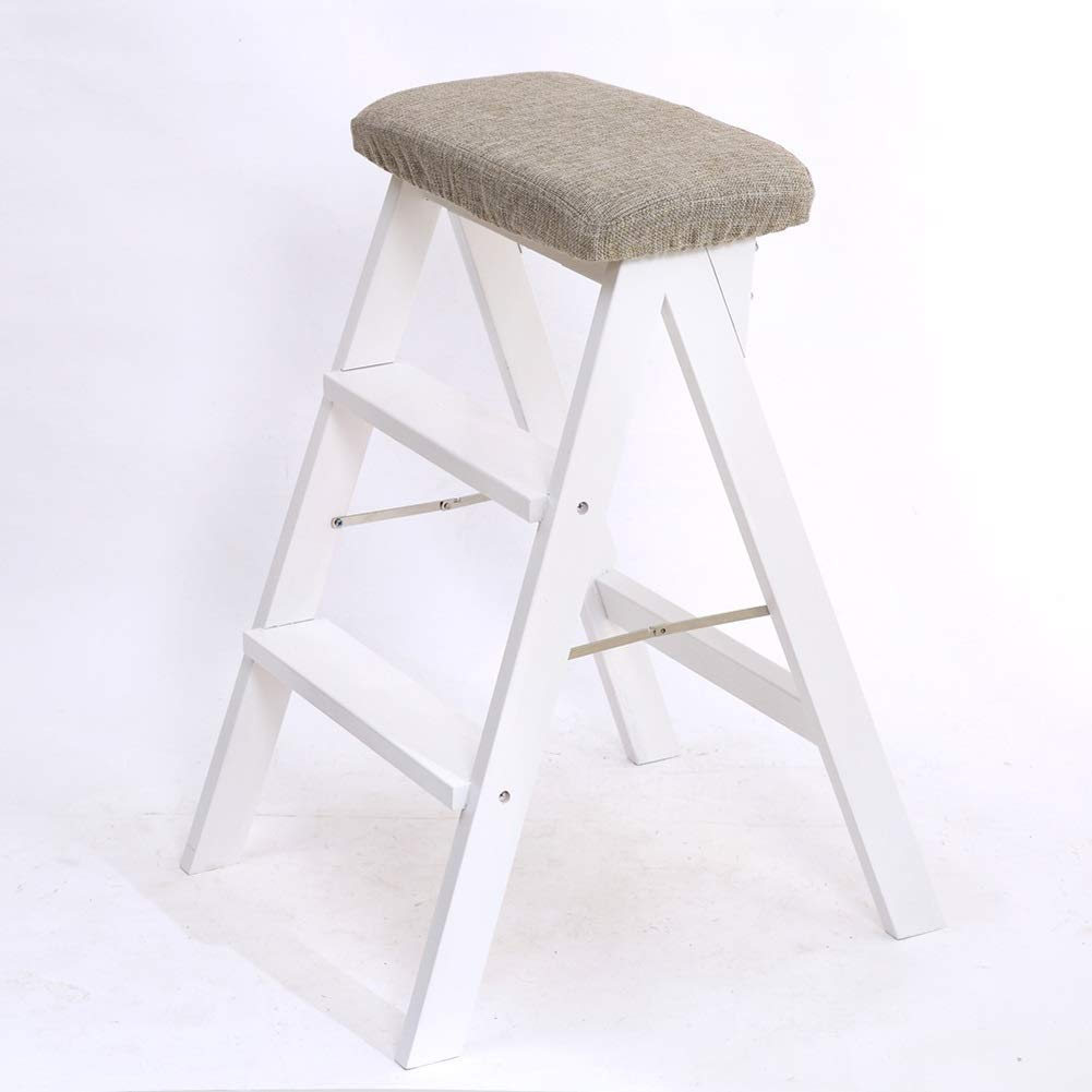 Style1 White Ladder Stool Portable 3 Steps Stool Solid Wood High Bench for Kitchen and Living Room, Foldable (color   Style7)
