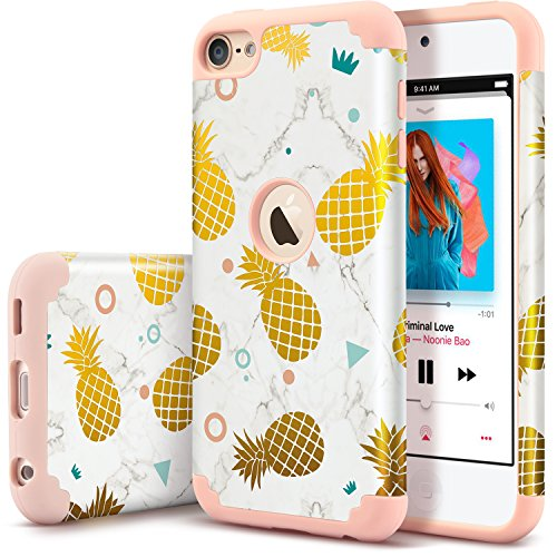 UrbanDrama iPod Touch 5 Case, iPod Touch 6 Case, Hybrid Solid PC Back Cover Soft Silicone Bumper Pineapple Pattern Shockproof Heavy Duty Protective Case iPod Touch 5th, 6th Generation, Rose Gold (5 Cases Silicone Fruit Ipod)