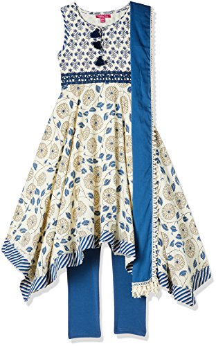 Biba Girls Asymmetrical Hemline Salwar Suit Set