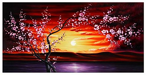 Wieco Art Plum Tree Blossom Flowers Extra Large Gallery Wrapped Giclee Canvas Prints Floral Landscape Pictures Paintings on Canvas Wall Art Ready to Hang for Living Room Home Decor 24x48 inch XL