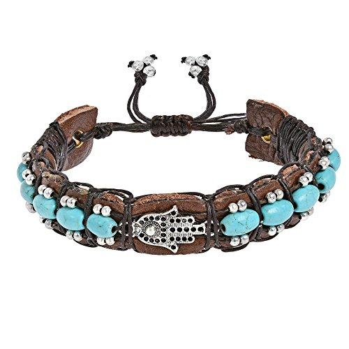 - AeraVida Hamsa Fatima Hand Simulated Turquoise Rolls Leather Adjustable Wrist Pull Bracelet