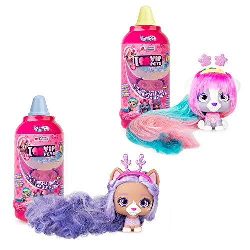 🥇 IMC Toys VIP Pets – Surprise Hair Reveal Doll – Series 1 Mousse Bottle – 2 Pack