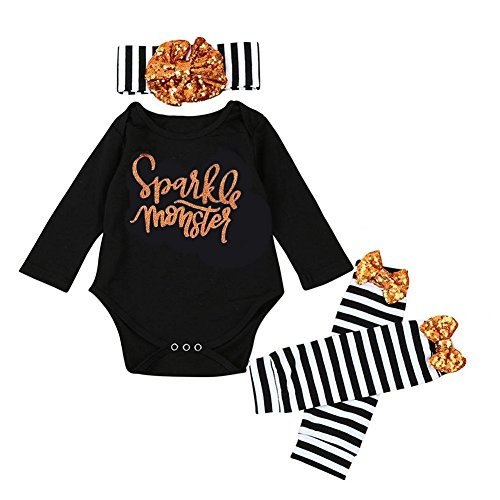 Baby Girl Halloween Outfits (GRNSHTS Baby Girls Boys 3Pcs Halloween Sequins Romper Set Romper + Headband + Leg Warmer (80 / 6-12 Months, Black))