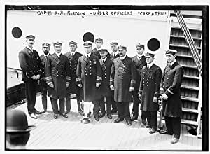 Photo: Captain Arthur Henry Rostron & under officers of CARPATHIA ship,1912,Titanic 2