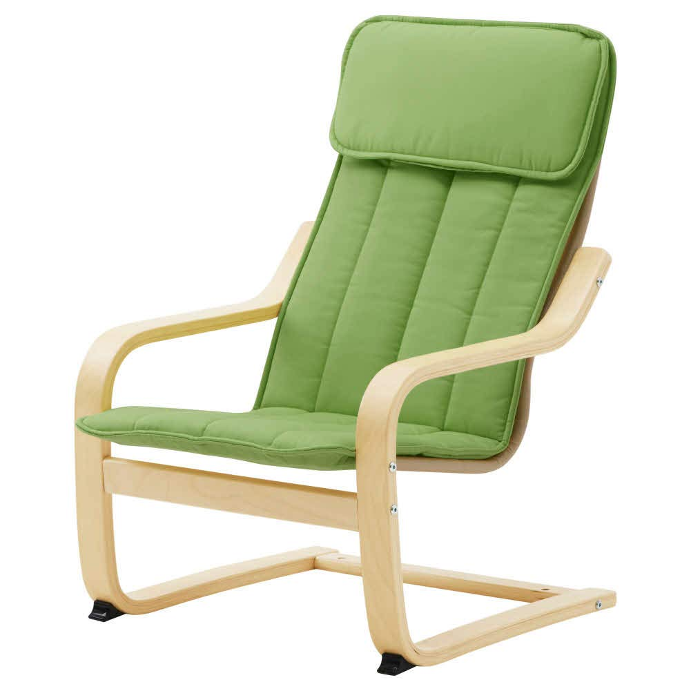 POANG Children's Armchair, Birch Veneer, Almas Green