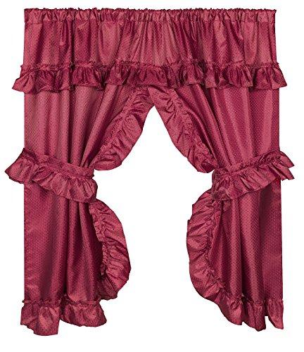 Window Curtain Bathroom Fabric (Diamond Dot Ruffled Fabric Bathroom Window Curtain With Attached Valance and Tiebacks - Burgundy)