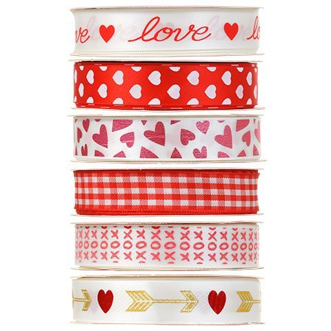 Valentine Heart Ribbon Bundle of 6, 3 Yard Spools (5/8 inches wide) ()