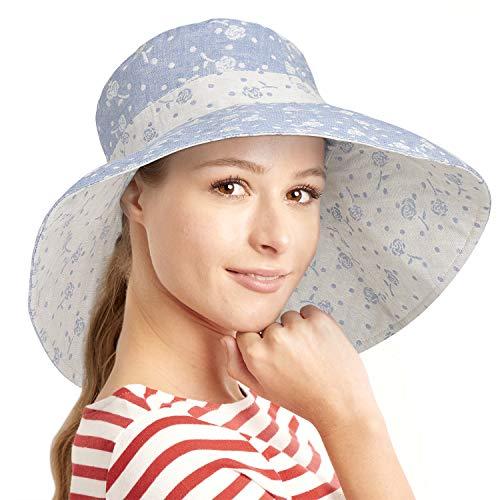 (Womens 5'' Super Wide Brim Sun Hats Summer Reversible UPF 50+ Beach Hat Foldable Floppy Rose Cap Blue)