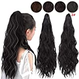 ENTRANCED STYLES Synthetic Ponytail Extension Long Wavy Ponytail Clip in Claw Hair Extensions Hairpieces for Women Black Color