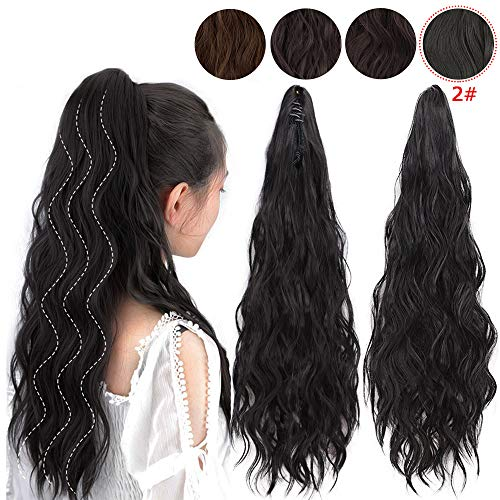 Curly Styles Hair Wavy - ENTRANCED STYLES Synthetic Ponytail Extension Long Wavy Ponytail Clip in Claw Hair Extensions Hairpieces for Women Black Color