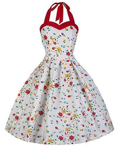 Lindy-Bop-Carola-Vintage-1950s-Ditzy-Summer-Meadow-Floral-Print-Halter-Neck-Dress-6XL-Red-White-Floral