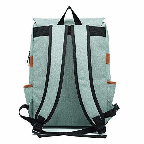 DETOME Hombres y Mujeres Vintage lona exterior Gran mochila de viaje elegante bolso de hombro doble, azul Luz verde