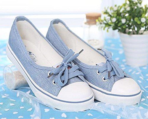 Zapatos Punta 40 Ocio Lona Minetom claro Mujer Redonda Chicas Tacón Moda Azul Plano Zapatos EU Espadrilles HIqXO