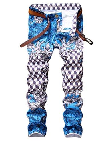 Enrica Men's Casual Printed Jeans Skinny Denim Pants (38, 194 Blue)