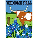 Welcome Yall Longhorn Bluebonnets 42 x 29 Rectangular Double Applique Large House Flag For Sale